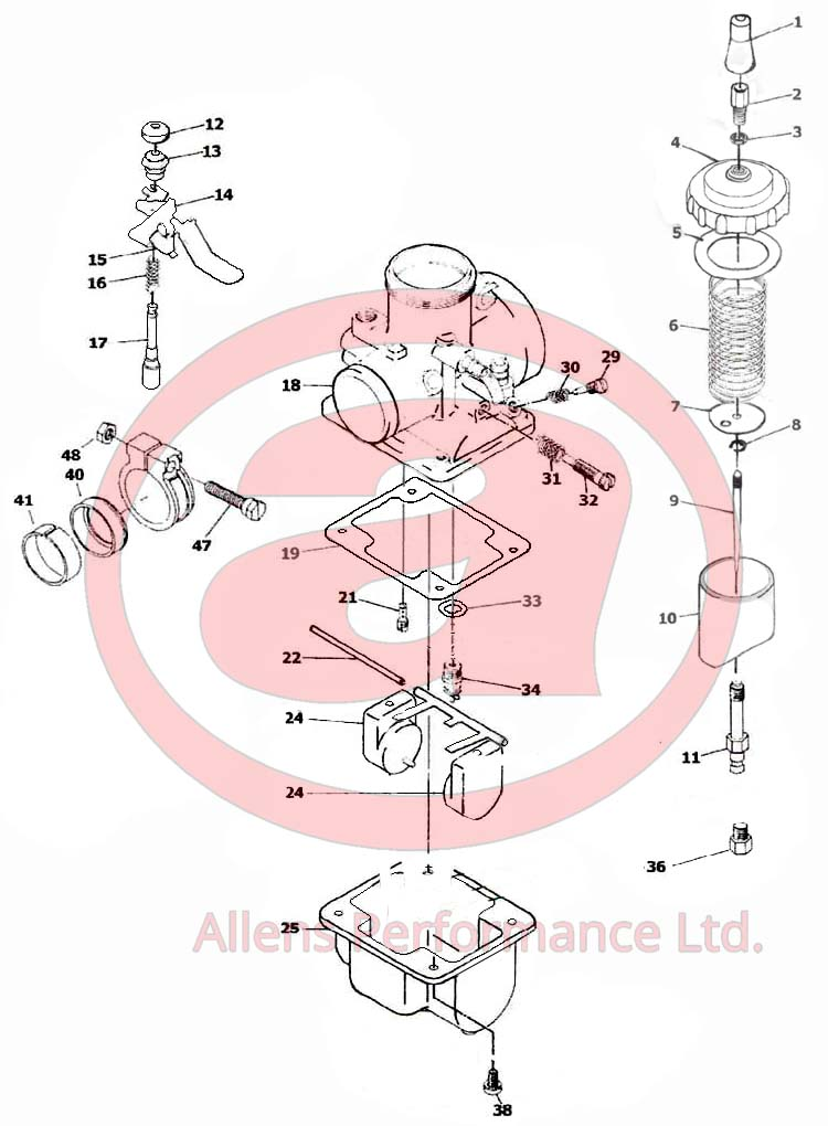 Exploded Carb Parts Diagram Fiche for Mikuni VM20-151 Carburettor
